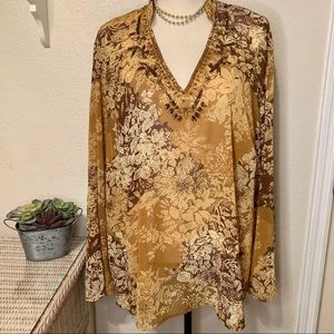 Lane Bryant  Sheer Floral Blouse w Beads At Neck